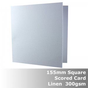 #H6043A - 155mm Square Scored Cards Linen White Card 300gsm