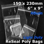 "#RB469 - 150x230mm (6"" x 9"") 40um ReSealable Poly Bag"