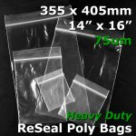 "#RB71416 - 355x405mm (14"" x 16"") 75um ReSealable Poly Bag"
