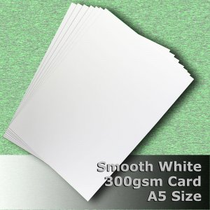 #H7305 - Smooth Finish White Card 300gsm A5 Size