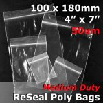 "#RB547 - 100x180mm (4"" x 7"") 50um ReSealable Poly Bag"