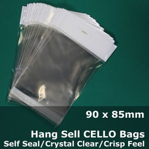 #PH9090 - 90x85mm Hang Sell Crystal Clear Cello Bags