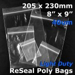 "#RB489 - 205x230mm (8"" x 9"") 40um ReSealable Poly Bag"