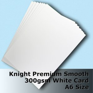 #H6502 - Knight Smooth Finish White Card 300gsm A6 Size
