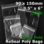 "#RB7356 - 90x150mm (3.5"" x 6"") 75um ReSealable Poly Bag"