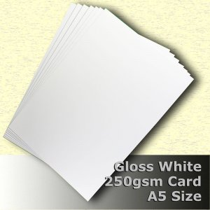 #H7105 - Cast Coat (Gloss) White Card 250gsm A5 Size