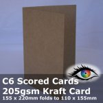 #S0122A KRAFT C6 Scored / Creased Cards 205gsm