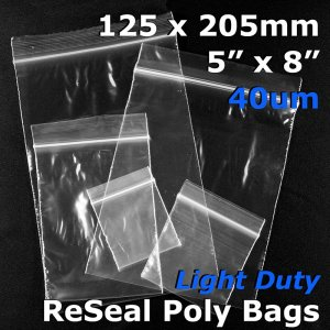 "#RB458 - 125x205mm (5"" x 8\"") 40um ReSealable Poly Bag"