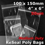 "#RB546 - 100x150mm (4"" x 6"") 50um ReSealable Poly Bag"